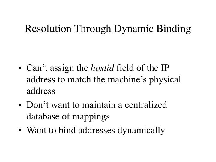 Resolution Through Dynamic Binding