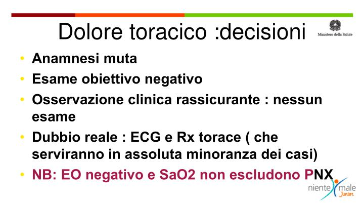 Dolore toracico :decisioni