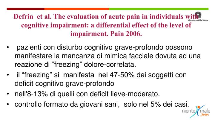 Defrin  et al. The evaluation of acute pain in individuals with cognitive impairment: a differential effect of the level of impairment. Pain 2006.