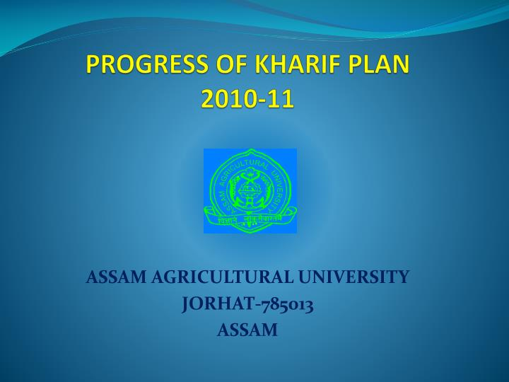 Progress of kharif plan 2010 11
