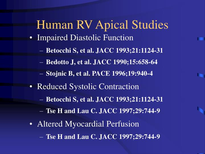 Human RV Apical Studies