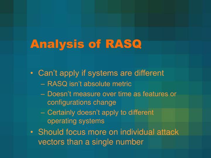 Analysis of RASQ