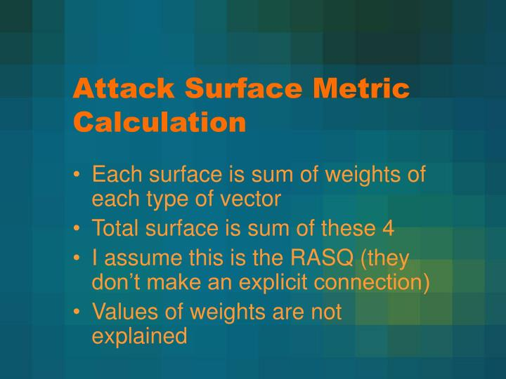 Attack Surface Metric Calculation