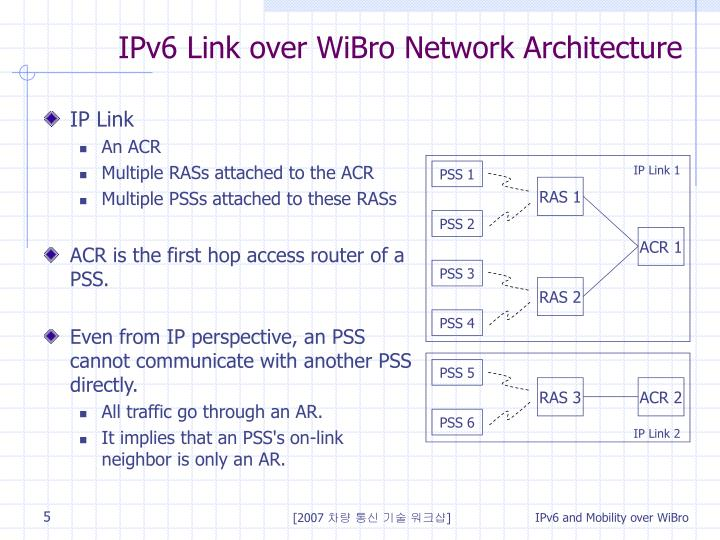 IPv6 Link over WiBro Network Architecture