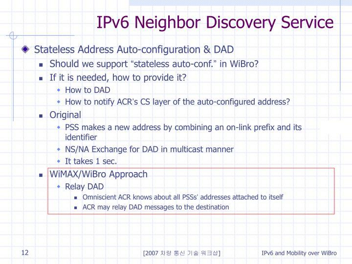 IPv6 Neighbor Discovery Service
