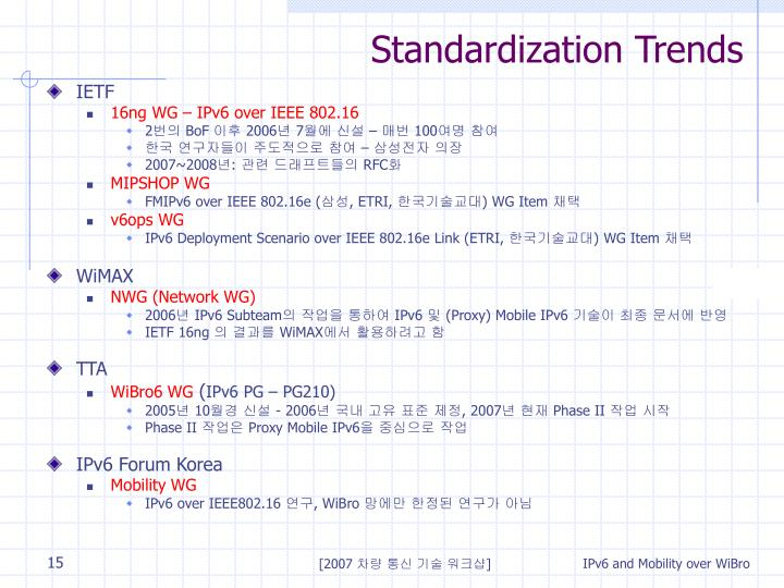 Standardization Trends
