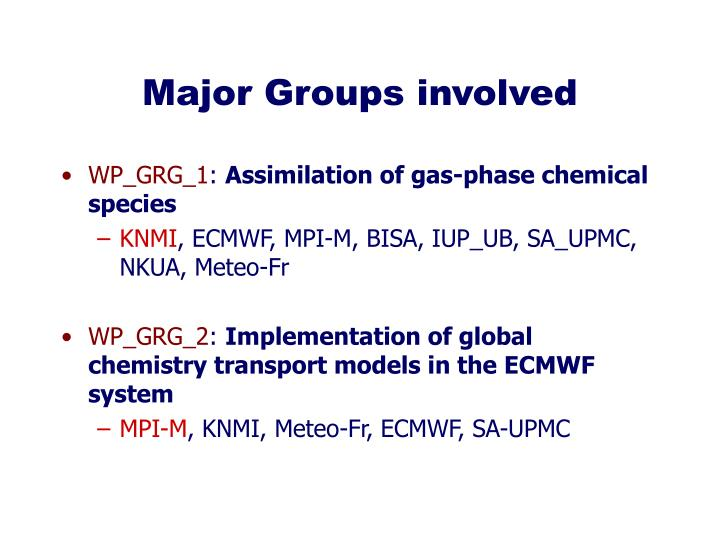 Major Groups involved