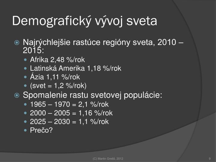 Demografický vývoj sveta