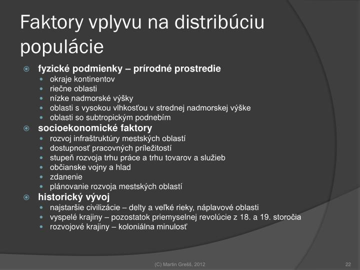 Faktory vplyvu na distribúciu populácie