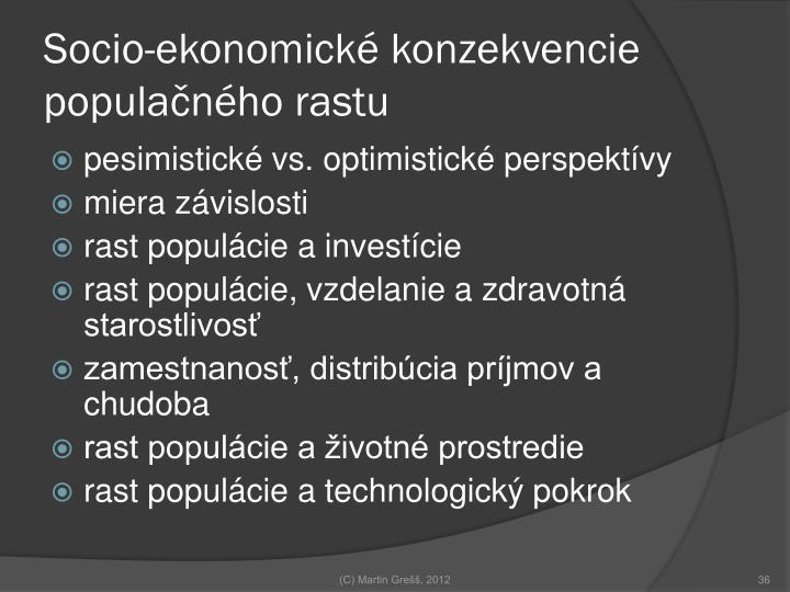 Socio-ekonomické konzekvencie populačného rastu