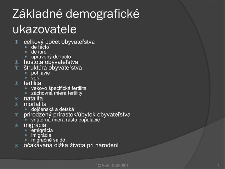 Základné demografické ukazovatele