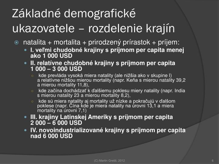Základné demografické ukazovatele – rozdelenie krajín