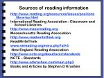 sources of reading information