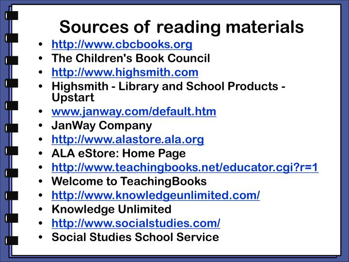 Sources of reading materials