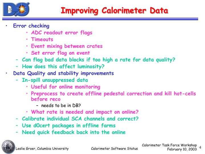 Improving Calorimeter Data