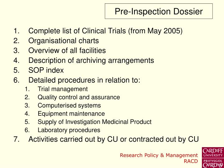 Pre-Inspection Dossier