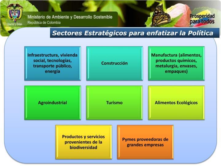 Sectores Estratégicos para enfatizar la Política