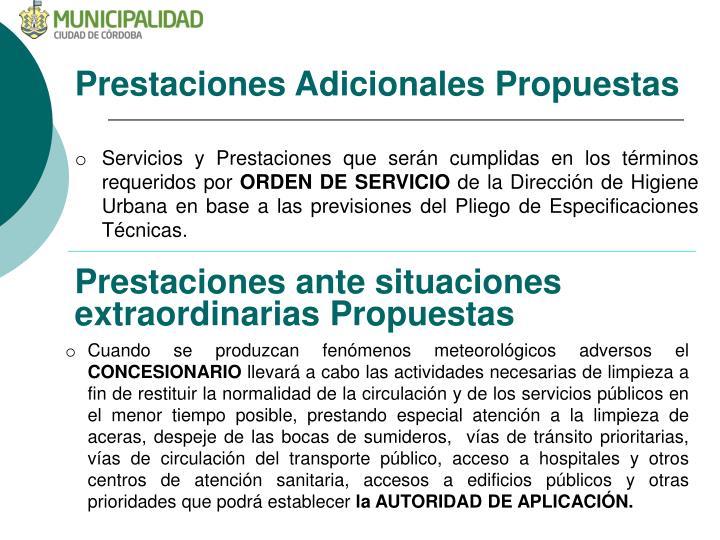 Prestaciones Adicionales Propuestas