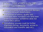 2 nd part input of racs to the cfp decision making process
