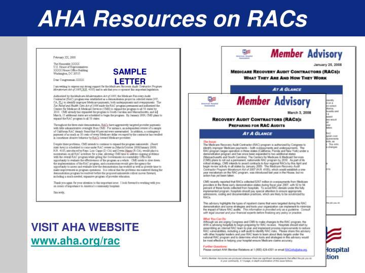 AHA Resources on RACs
