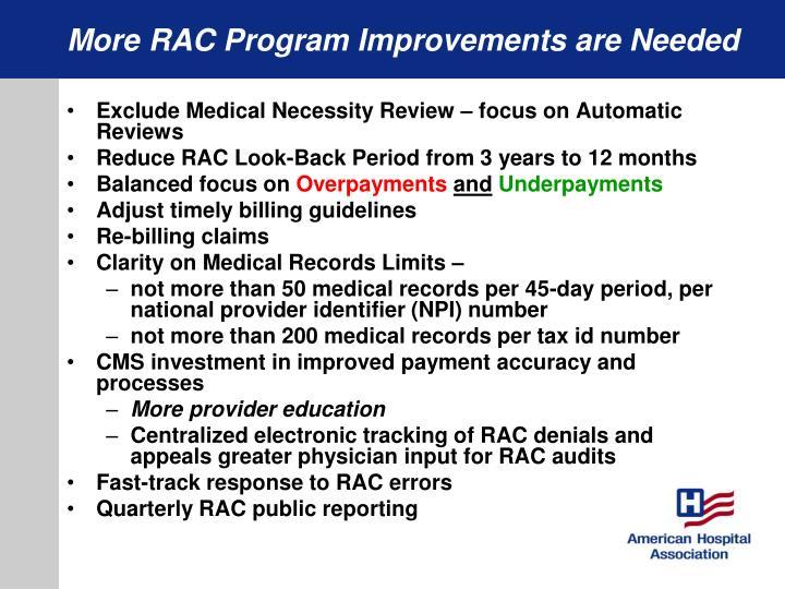 More RAC Program Improvements are Needed