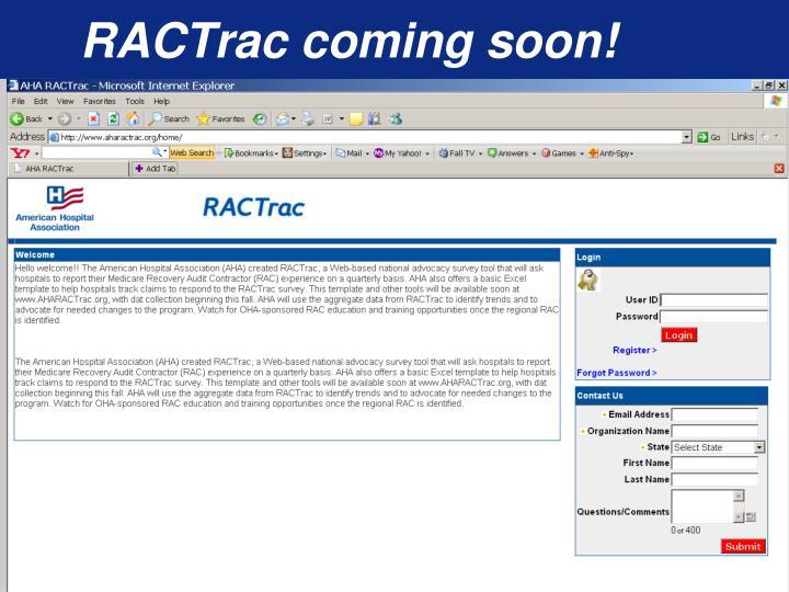 RACTrac coming soon!