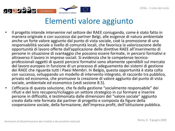 Elementi valore aggiunto