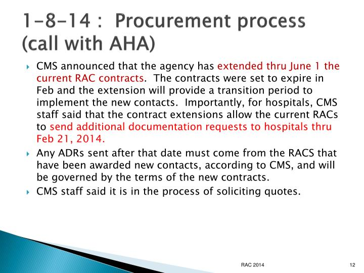 1-8-14 :  Procurement process (call with AHA)