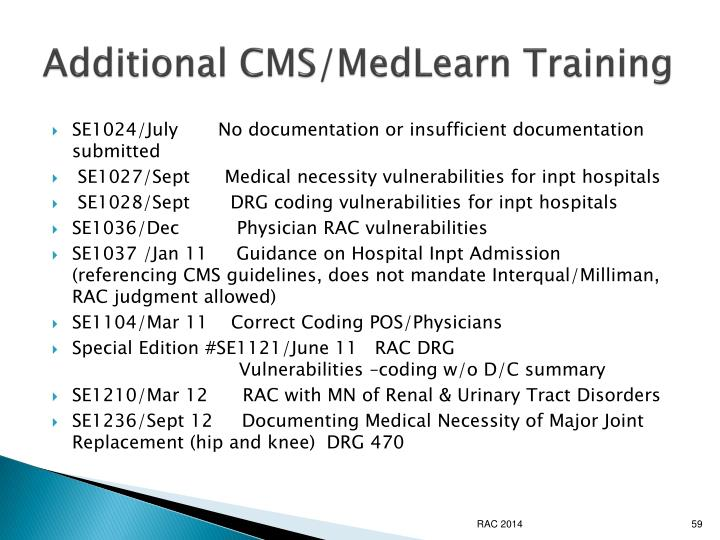 Additional CMS/MedLearn Training