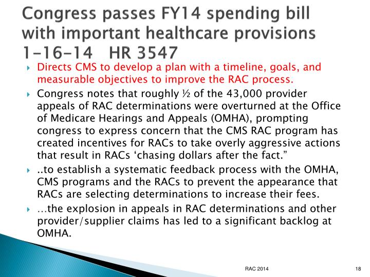 Congress passes FY14 spending bill with important healthcare provisions   1-16-14   HR 3547