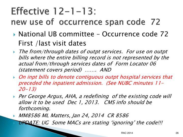 Effective 12-1-13: