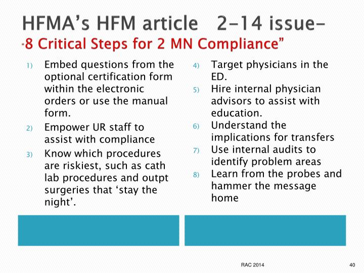 HFMA's HFM article   2-14 issue-