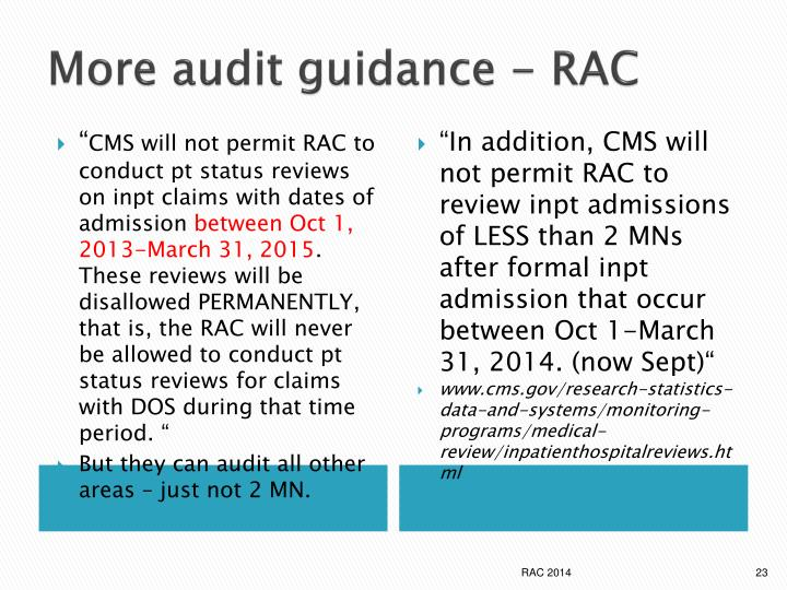 More audit guidance - RAC