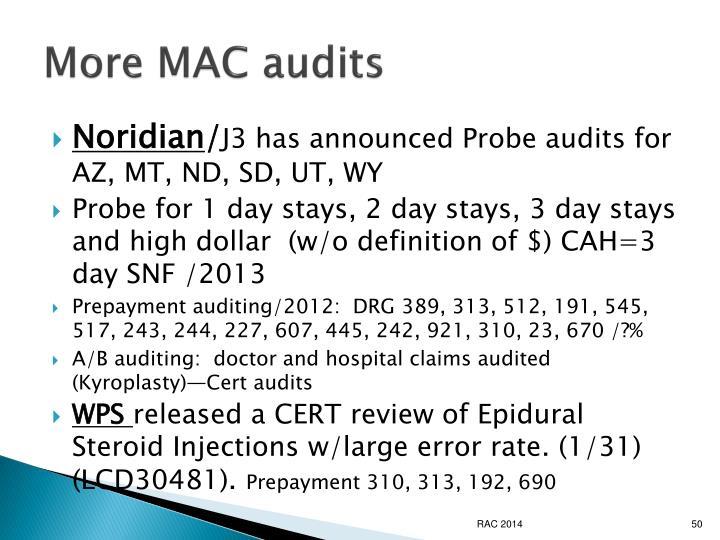 More MAC audits