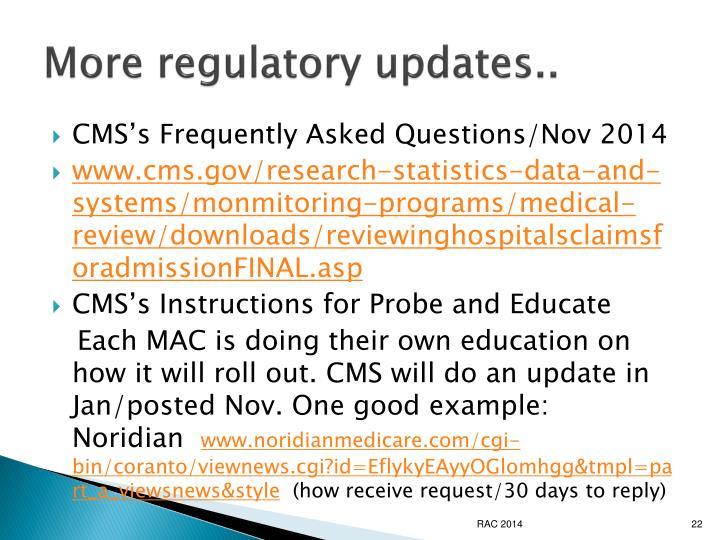More regulatory updates..