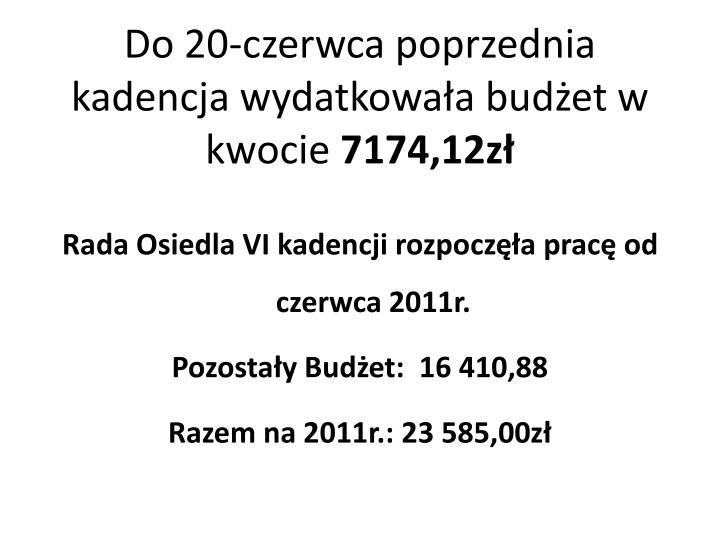 Do 20-czerwca poprzednia kadencja wydatkowała budżet w kwocie