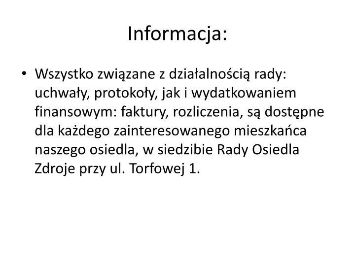 Informacja: