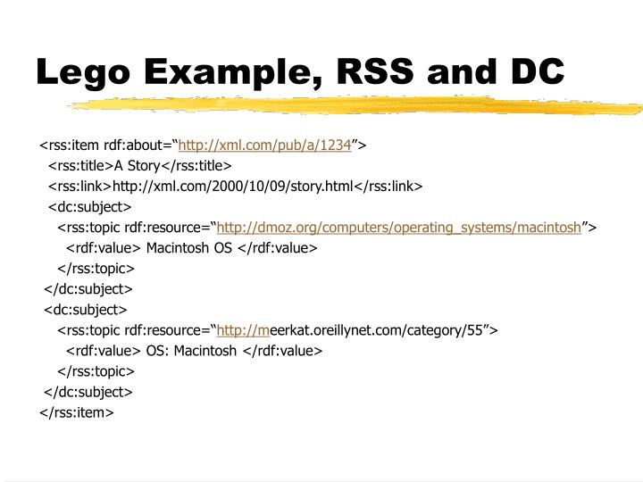Lego Example, RSS and DC