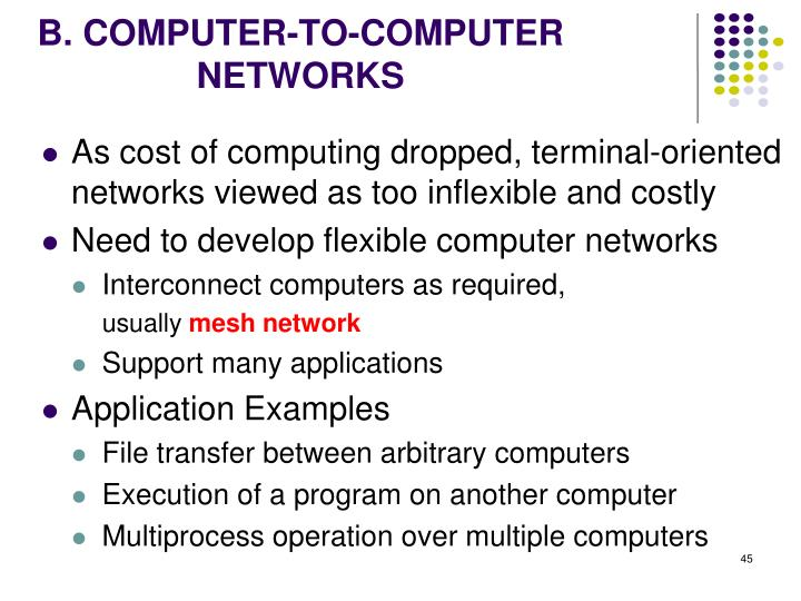 B. COMPUTER-TO-COMPUTER NETWORKS