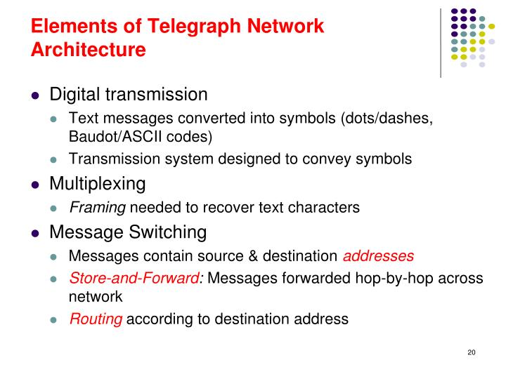 Elements of Telegraph Network Architecture