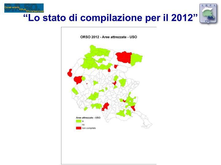 """""""Lo stato di compilazione per il 2012"""""""