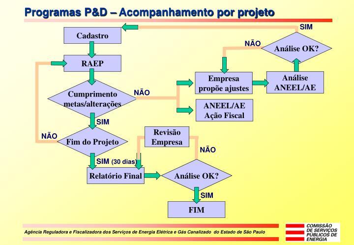 Programas P&D – Acompanhamento por projeto