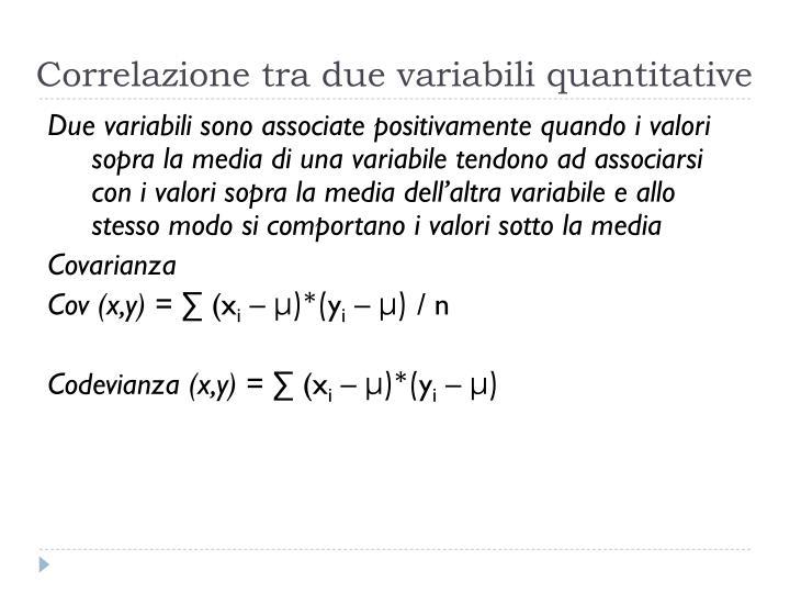 Correlazione tra due variabili quantitative