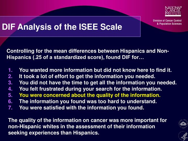 DIF Analysis of the ISEE Scale
