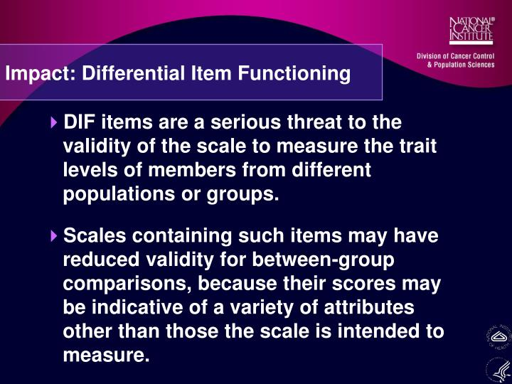 Impact: Differential Item Functioning