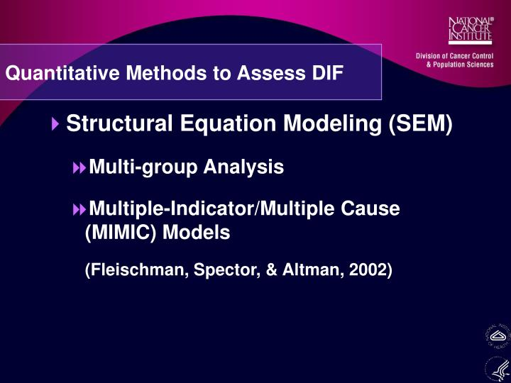 Quantitative Methods to Assess DIF