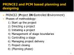 prince2 and pcm based planning and designing