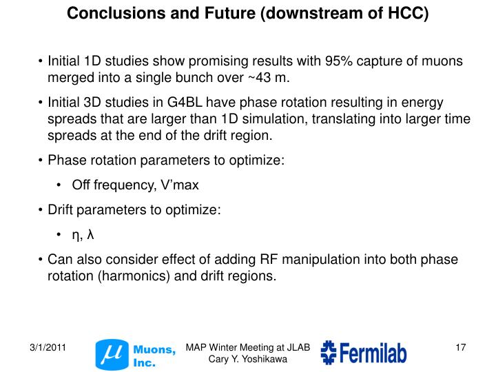 Conclusions and Future (downstream of HCC)