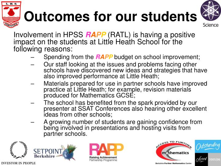 Outcomes for our students