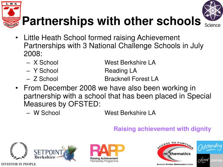Partnerships with other schools